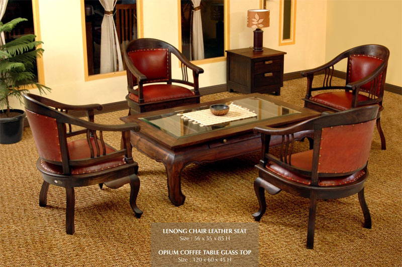 Lenong Living Set Furniture Indonesia Teak Leather