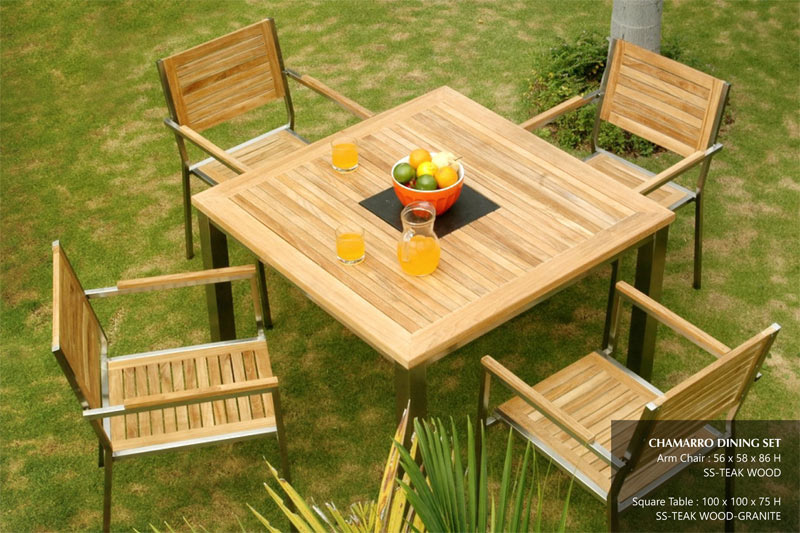 Chamarro dining set indonesia furniture indonesian home for Outdoor furniture spain
