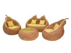 Pear rattan living set