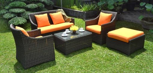 Dominica synthetic rattan living set