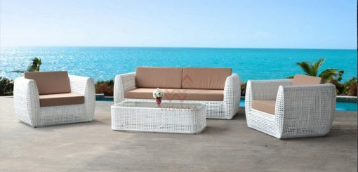 Maiden synthetic rattan living set