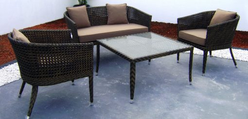 Naomi synthetic rattan living set with Cushion