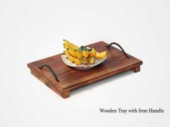 Wooden Tray with Iron Handle
